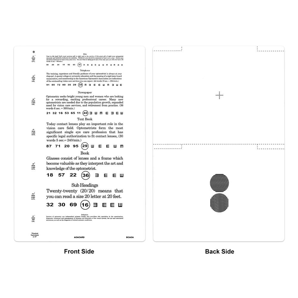 Eye exam reading chart gallery chart design ideas contemporary near point eye chart bernell corporation aoa near acuity card geenschuldenfo gallery geenschuldenfo Choice Image