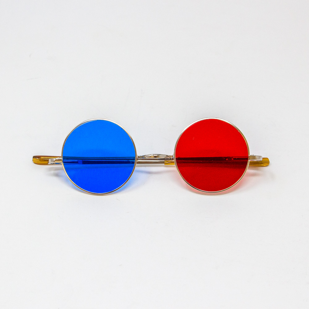 Reversible Metal Frame Glasses with Red/Blue Lenses