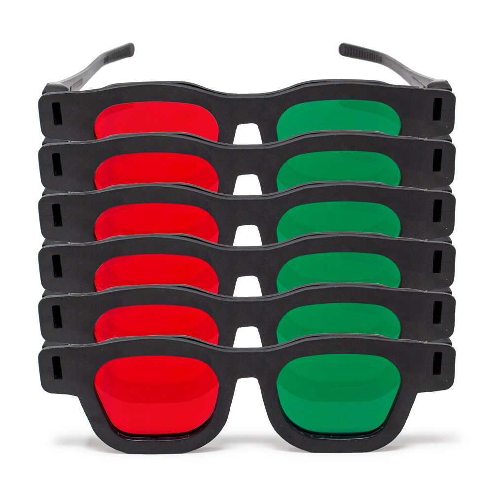 Original Bernell Model - Red/Green Goggles (Lenses Not Glued) - Pkg. of 6