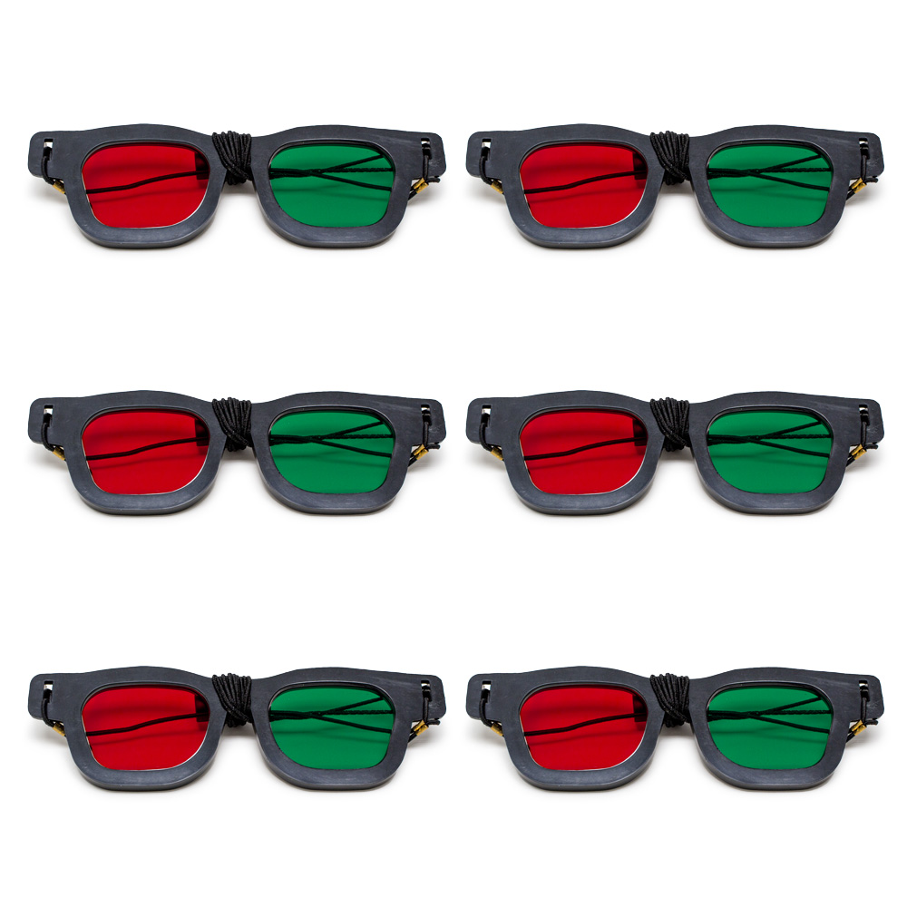 Original Bernell Model - Red/Green Goggles with Elastic (Lenses Not Glued) - Pkg. of 6