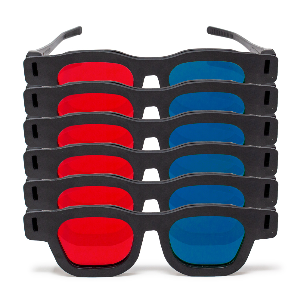 Original Bernell Model - Red/Blue Computer Goggles (Lenses Not Glued) - Pkg. of 6