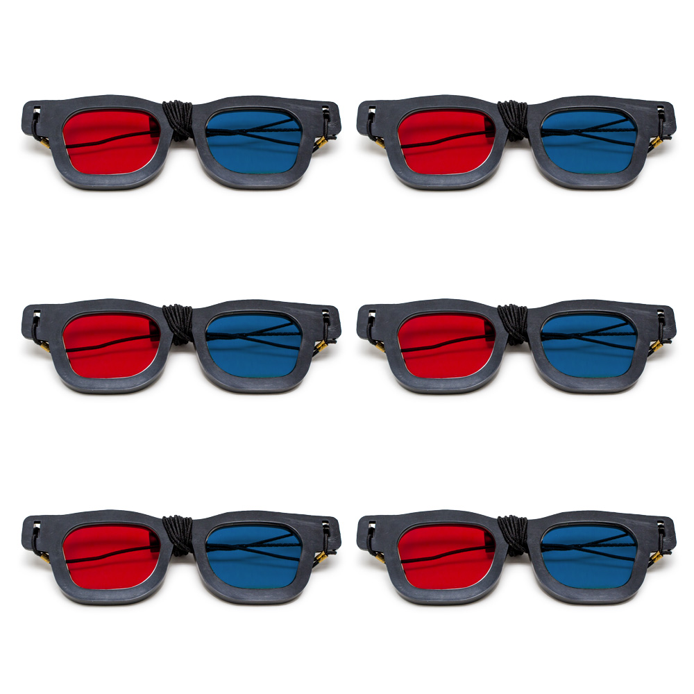 Original Bernell Model - Red/Blue Computer Goggles with Elastic (Lenses Not Glued) - Pkg. of 6