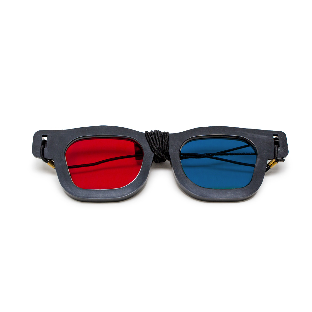Original Bernell Model - Red/Blue Computer Goggles with Elastic (Lenses Not Glued) - Single