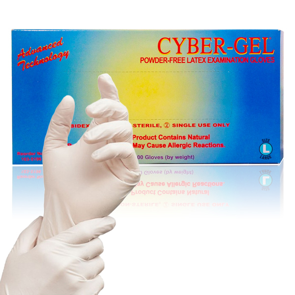 Cyber-Gel® Powder-Free Latex Exam Gloves (Box of 100)