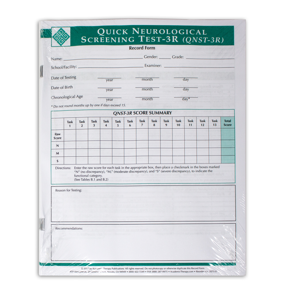 Quick Neurological Screening Test 3R Forms