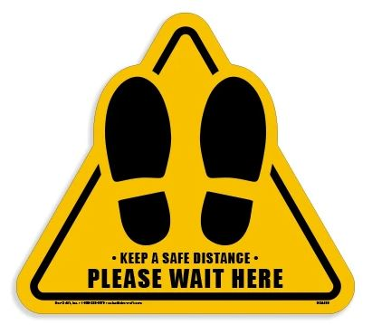 "Triangle - ""Keep a Safe Distance"" Vinyl Floor Sticker for Carpet"