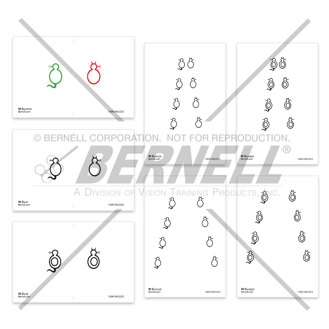 Bernell Wiley Cat™ Fixation Card Set - Transparent Set of 7 Wiley Cards