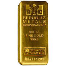 100 Oz Gold Bar Republic Metals Rmc 9999 Fine 24kt Bullion Ingot