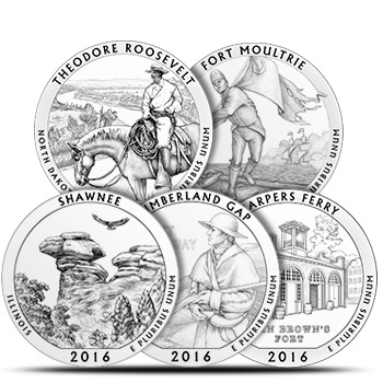 2016 America The Beautiful (ATB) 5 oz Silver Coins