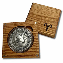 Silver Zodiac Rounds in Wood Box