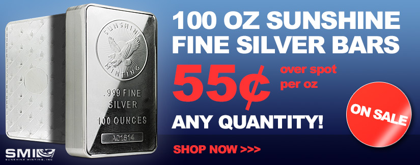 100 oz Silver Sunshine Bars In Stock Now