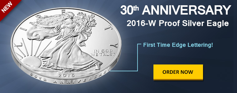 New 2016-W Proof Silver Eagle with Edge Lettering