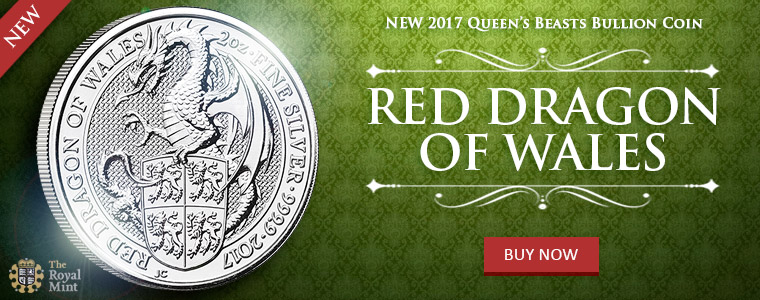 Red Dragon of Wales silver bullion coin