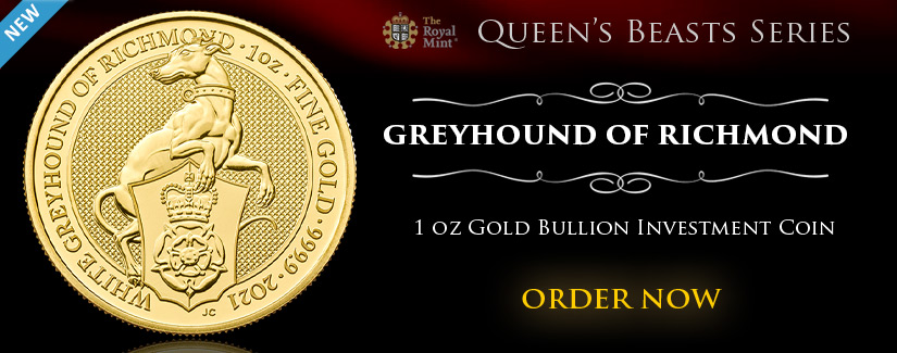2021 Queen's Beasts Greyhound of Richmond 1 oz Gold Bullion Coin