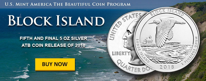 NEW 5 oz Silver America The Beautiful Bullion Coin - Block Island - Order Now