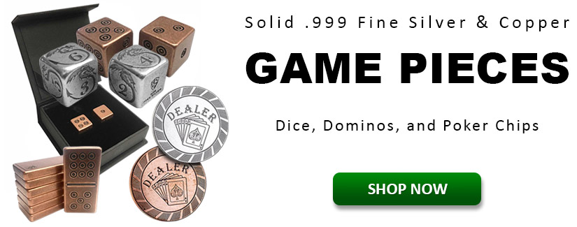 Solid .999 Fine Silver and Copper Game Pieces
