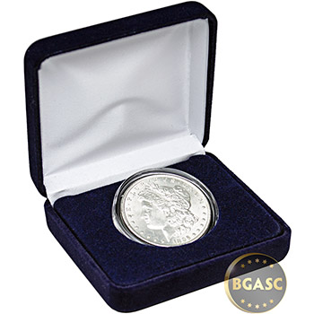 Morgan Silver Dollar Uncirculated Coin in Velvet Gift Box - Image