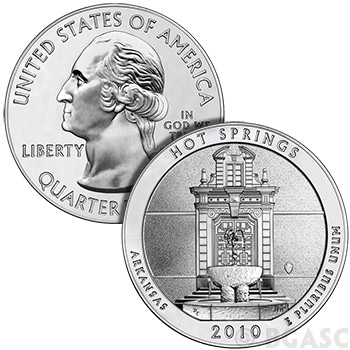 2010 Hot Springs - 5 oz Silver America The Beautiful in Air-Tite Capsule .999 Silver Bullion Coin