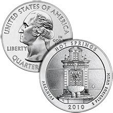 2010 Hot Springs - 5 oz Silver America The Beautiful in Air-Tite Capsule .999 Silver Bullion Coin