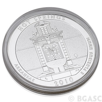 2010 Hot Springs - 5 oz Silver America The Beautiful in Air-Tite Capsule .999 Silver Bullion - Image