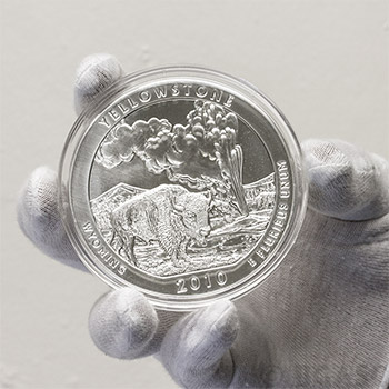 2010 Yellowstone - 5 oz Silver America The Beautiful in Air-Tite Capsule .999 Silver Bullion - Image