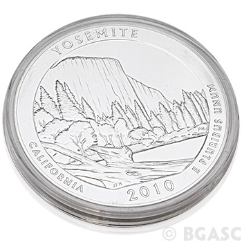 2010 RAW Yosemite - 5 oz Silver America The Beautiful 5oz Silver Quarter .999 Silver - Image