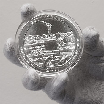 2011 RAW Gettysburg - 5oz Silver America The Beautiful 5oz Silver Quarter .999 Silver - Image