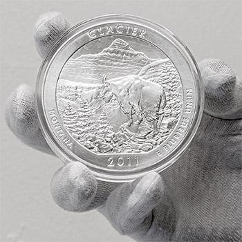 2011 RAW Glacier - 5oz Silver America The Beautiful 5oz Silver Quarter .999 Silver - Image