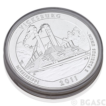 2011 RAW Vicksburg - 5oz Silver America The Beautiful 5oz Silver Quarter .999 Silver - Image