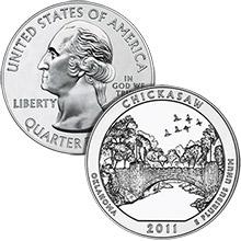 2011 Chickasaw - 5 oz Silver America The Beautiful in Air-Tite Capsule .999 Silver Bullion Coin