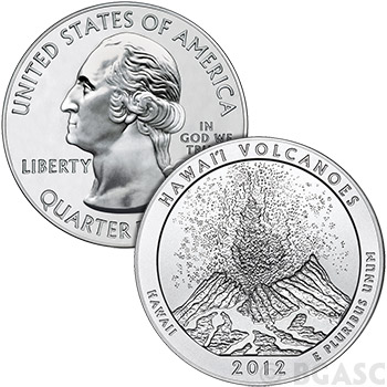 2012 RAW Hawaii Volcanoes - 5oz Silver America The Beautiful 5oz Silver Quarter .999 Silver - Image