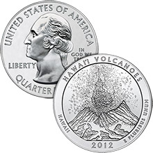 2012 Hawaii Volcanoes - 5 oz Silver America The Beautiful in Capsule .999 Silver Bullion Coin