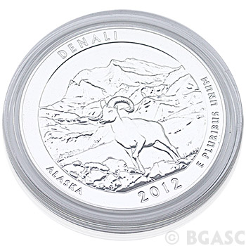 2012 RAW Denali - 5oz Silver America The Beautiful 5oz Silver Quarter .999 Silver - Image