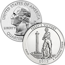 2013 Perrys Victory Memorial 5 oz Silver America The Beautiful in Air-Tite Capsule .999 Silver Bullion Coin