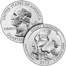 2013 Mount Rushmore 5 oz Silver America The Beautiful in Capsule .999 Silver Bullion Coin