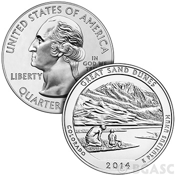 2014 Great Sand Dunes 5 oz Silver America The Beautiful .999 Silver Bullion Coin in Air-Tite Capsule