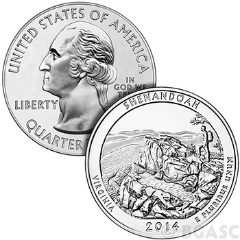 2014 Shenandoah 5 oz Silver America The Beautiful .999 Silver Bullion Coin in Air-Tite Capsule