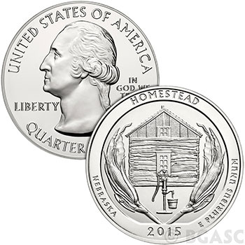 2015 Homestead National Monument 5 oz Silver America The Beautiful .999 Fine Bullion Coin in Air-Tite Capsule