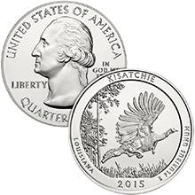 2015 Kisatchie 5 oz Silver America The Beautiful .999 Fine Bullion Coin in Air-Tite Capsule