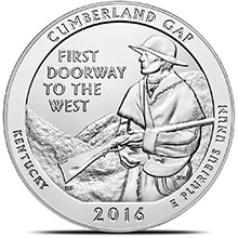 2016 Cumberland Gap 5 oz Silver America The Beautiful .999 Fine Bullion Coin in Capsule