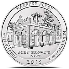 2016 Harpers Ferry 5 oz Silver America The Beautiful .999 Fine Bullion Coin in Air-Tite Capsule