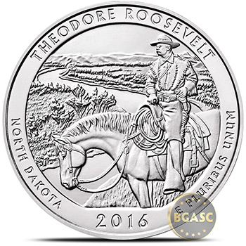 2016 Theodore Roosevelt 5 oz Silver America The Beautiful .999 Fine Bullion Coin in Air-Tite Capsule - Image