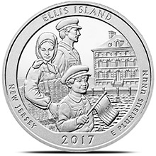 2017 Ellis Island 5 oz Silver America The Beautiful .999 Fine Bullion Coin in Air-Tite Capsule
