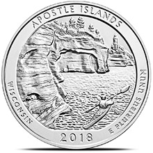 2018 Apostle Islands Wisconsin 5 oz Silver America The Beautiful .999 Fine Bullion Coin in Air-Tite Capsule