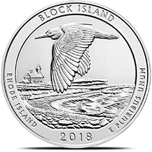 2018 Block Island Rhode Island 5 oz Silver America The Beautiful .999 Fine Bullion Coin in Air-Tite Capsule