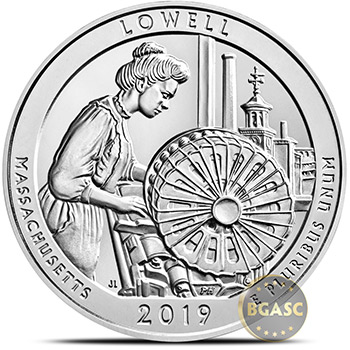 2019 Lowell Park Massachusetts 5 oz Silver America The Beautiful .999 Fine Bullion Coin - Image