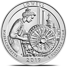 2019 Lowell Park Massachusetts 5 oz Silver America The Beautiful .999 Fine Bullion Coin in Air-Tite Capsule