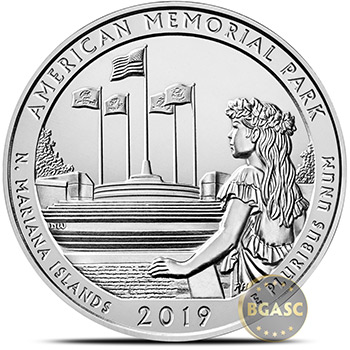 2019 American Memorial Park 5 oz Silver America The Beautiful .999 Fine Bullion Coin in Capsule