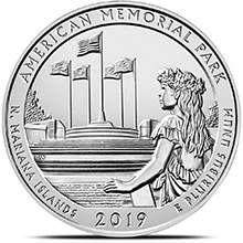 2019 American Memorial Park 5 oz Silver America The Beautiful .999 Fine Bullion Coin in Air-Tite Capsule