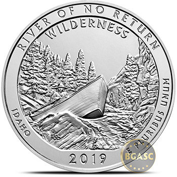 2019 River of No Return Idaho 5 oz Silver America The Beautiful .999 Fine Bullion Coin in Capsule